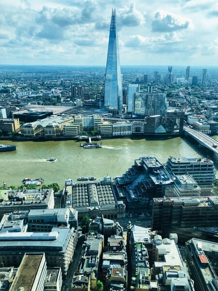 Views of the Shard from the London observation deck at the top of the WalkieTalkie in the Sky Garden