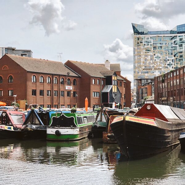 Birmingham England. Canalside and canal boats