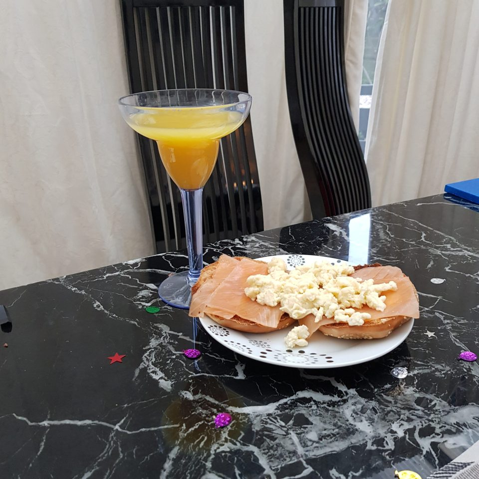 Smoked salmon and scrambled eggs with Buck's Fizz.