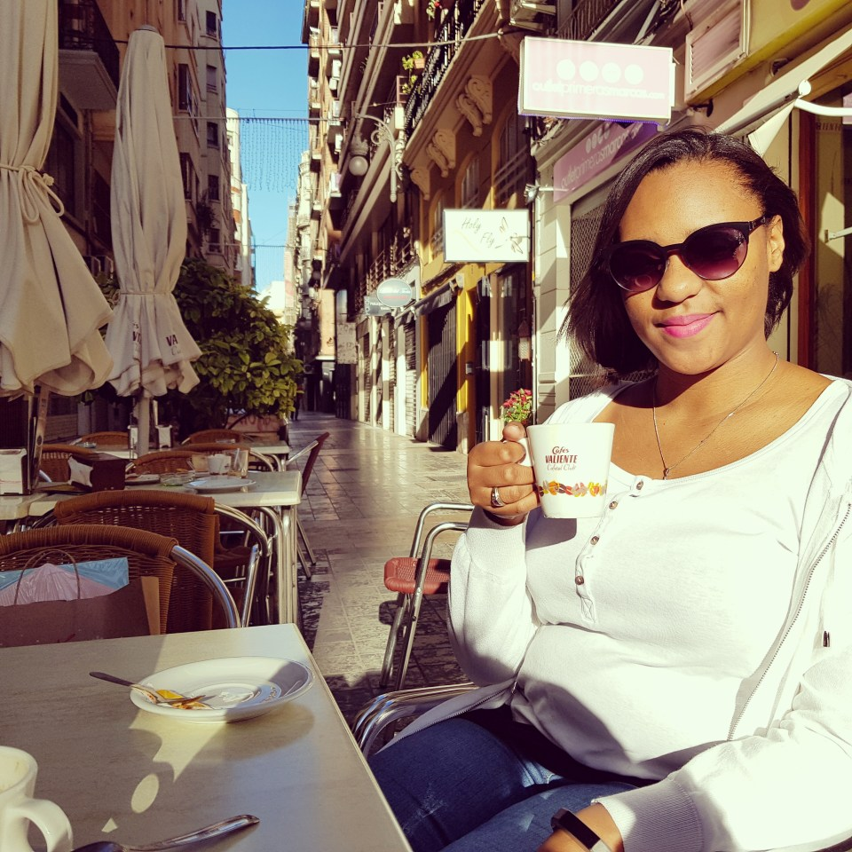 Enjoying a coffee in Valencia city centre