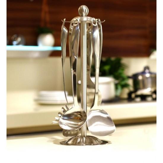 carousel kitchen utensil holder window valance ideas mylifeunit organizer 360 degree rotating with six hooks