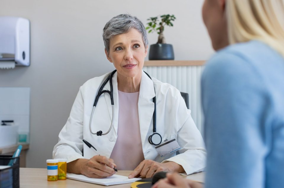 talking to doctor about bladder leakage