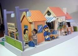 Maqueta 3D recortable y armable de una estación de tren. Manualidades a Raudales.