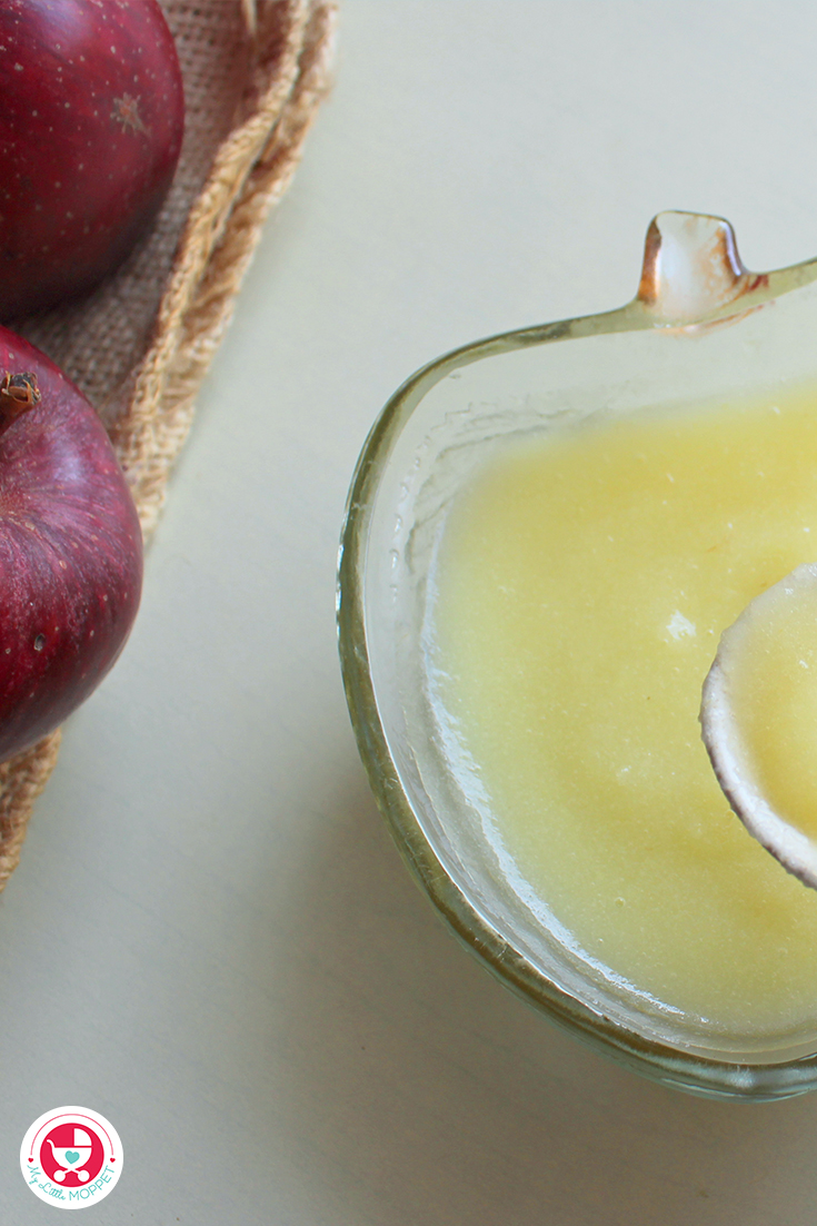 Ready to prepare your baby's first food? Apple puree for baby is an easy to make and yummy first food.