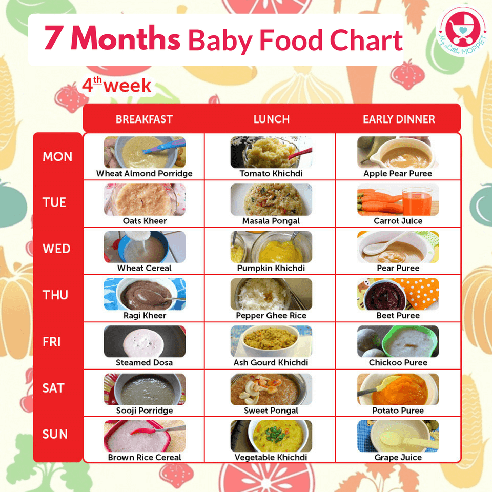 7 Months Baby Food Chart - My Little Moppet