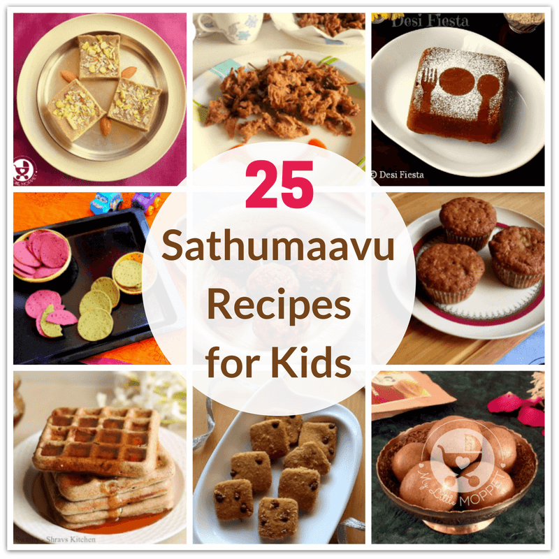 Sathumaavu or Health Mix is not just for babies, it's for the whole family! Check out these 25 Sathumaavu recipes for kids, for breakfast, snacks & desserts!