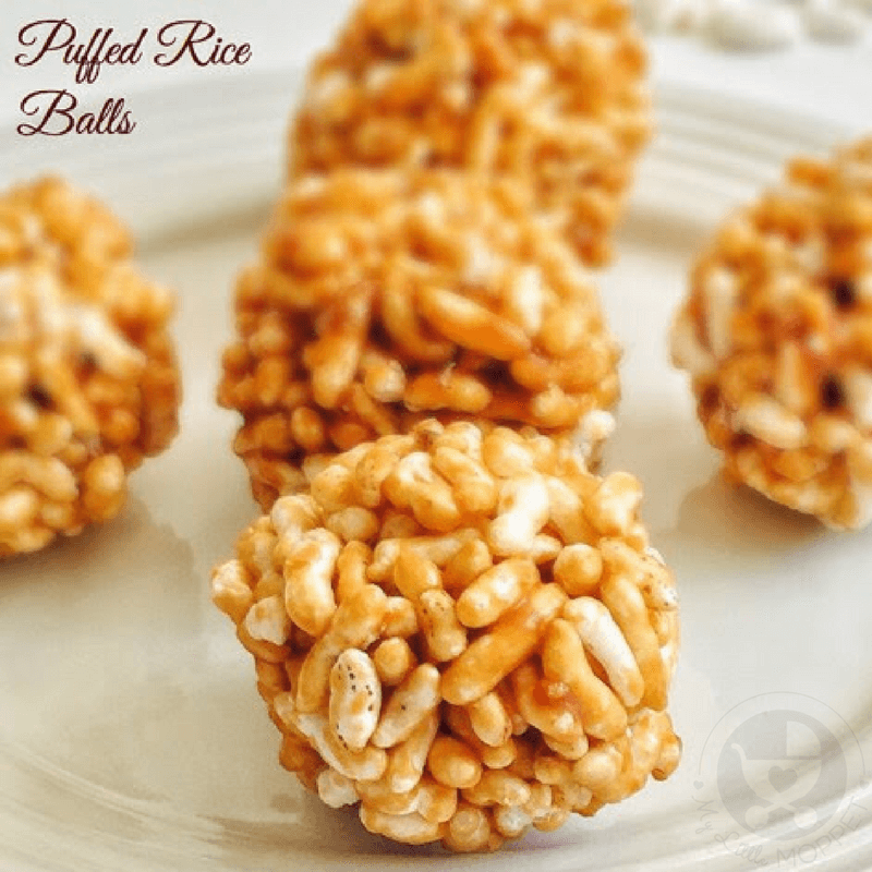 These Puffed Rice balls are a good snack for kids to munch on in between meals as it provides instant energy for active kids.