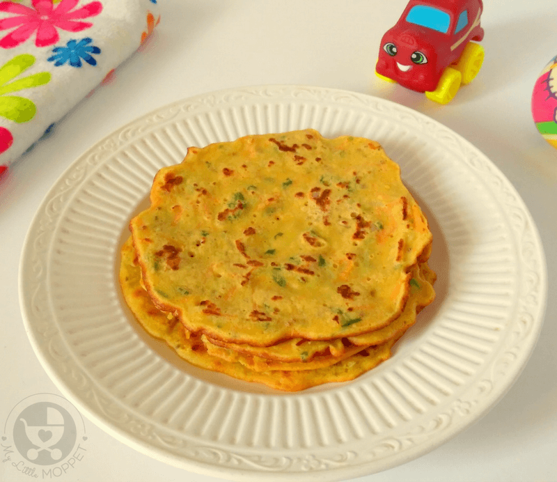 Give your little one a nutritious meal in the form of this Chickpea Veggie Pancake Recipe for babies! Packed with protein and energy, this is a must try recipe!