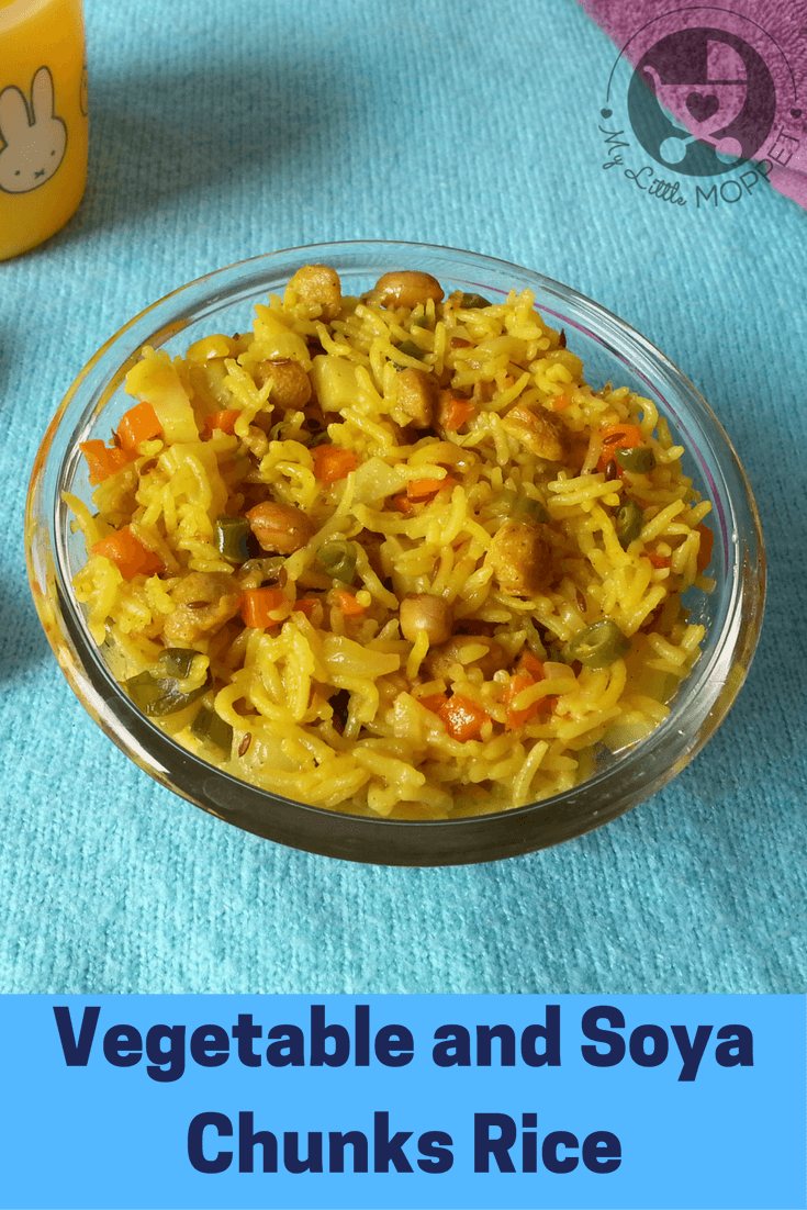 Toddlers need a good amount of nutrition, but their pickiness can be a hassle! This Vegetable and Soya Chunks Rice is full of carbs, protein and vitamins!