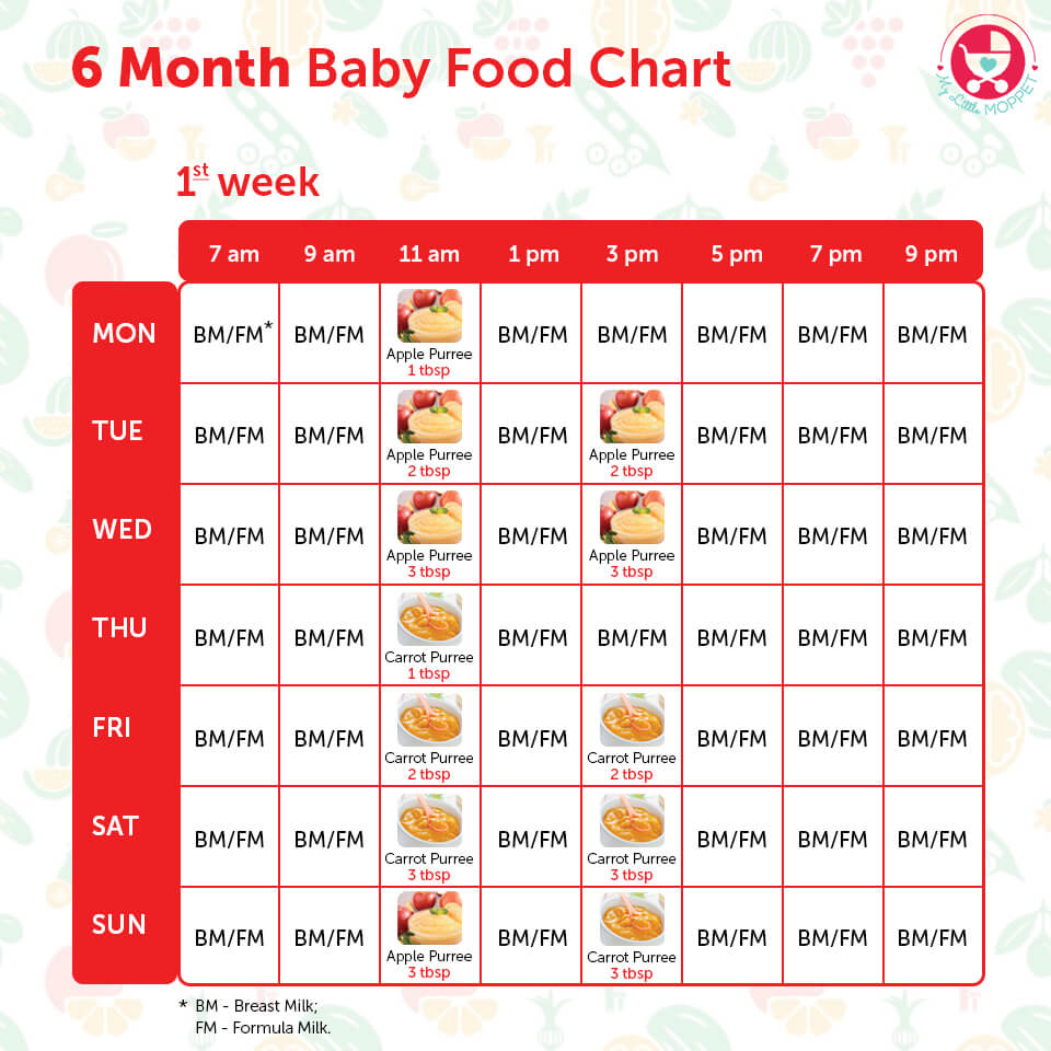 diet chart for 6 month baby: 6 months baby food chart with indian recipes