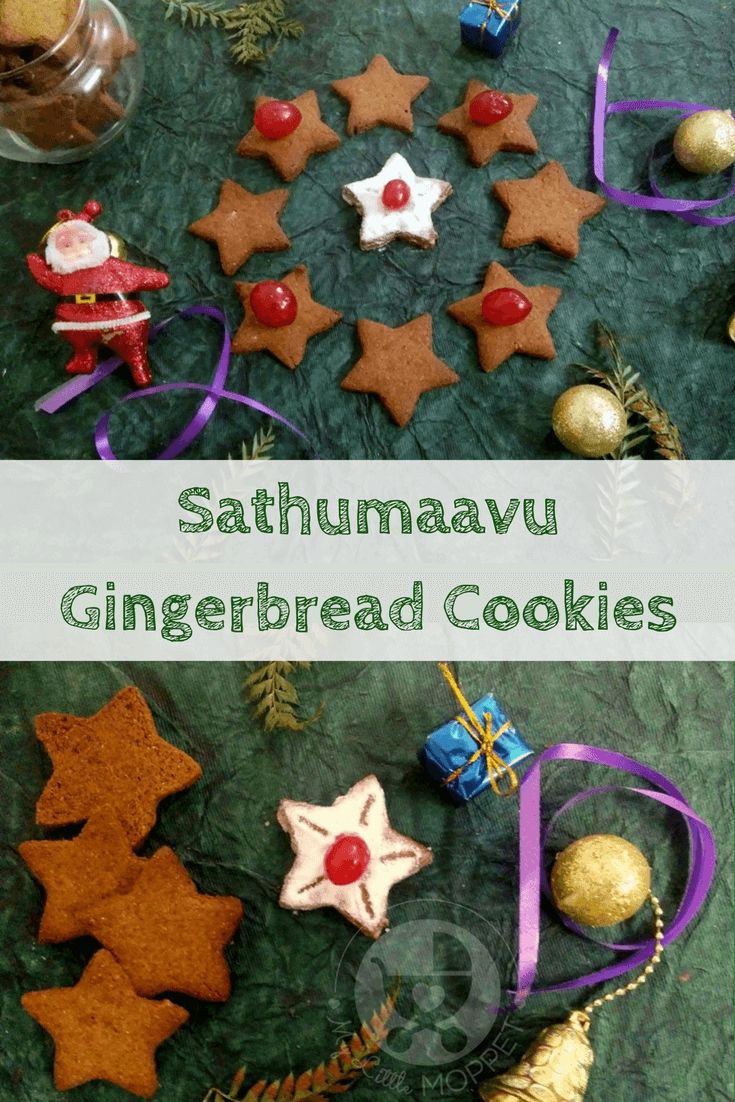 Gingerbread goodies are popular during Christmas season, but what we've got today is different! Try out these Sathumaavu Gingerbread Cookies - super healthy and yummy too! #Gingerbread