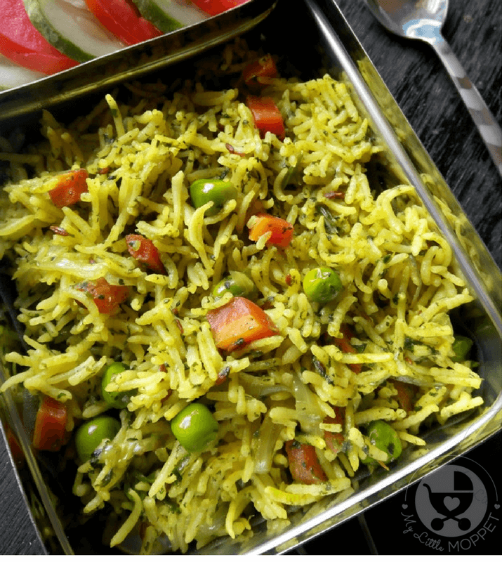 A well balanced meal at lunch time keeps the energy going, and helps kids focus on their studies without falling asleep, like this coriander vegetable rice for kids!
