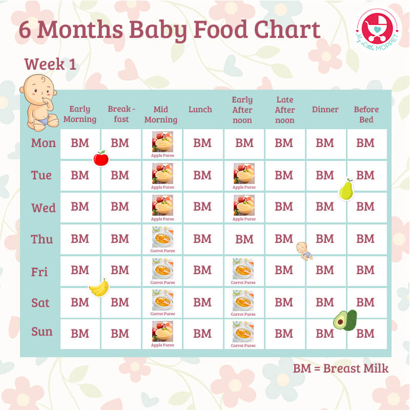 6 Months Baby Food Chart - with Indian Recipes