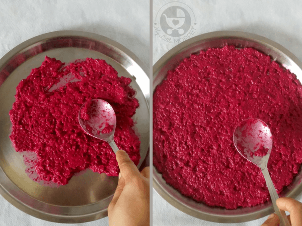spread the beetroot paste evenly on a plate
