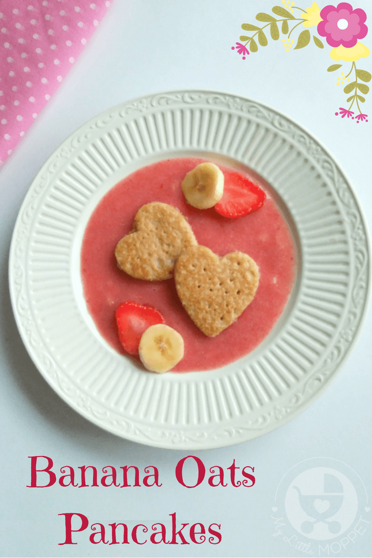 This Valentine's Day, give your toddler a healthy and cute breakfast with these heart shaped banana oats pancakes!