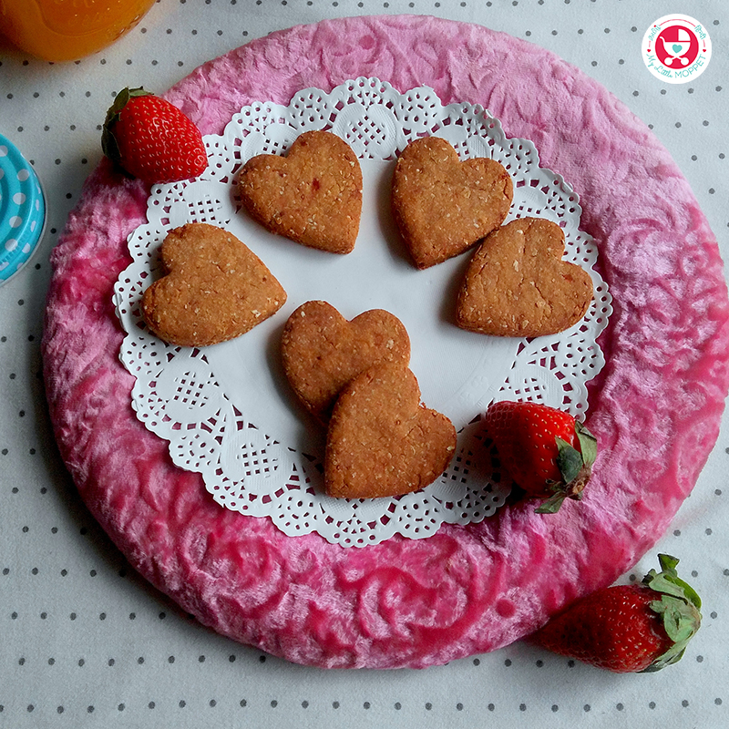 The heart shaped homemade strawberry cookies are the best healthy and tasty fruity sweet treats for your loved ones on this Valentine's day.
