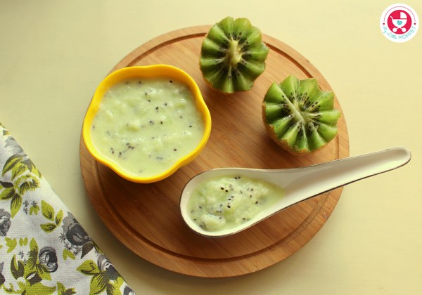 Yogurt with Pureed Kiwi is a vitamin A, Vitamin C, dietary fiber and potassium rich food for babies. This recipe is suitable for babies above 7 months.