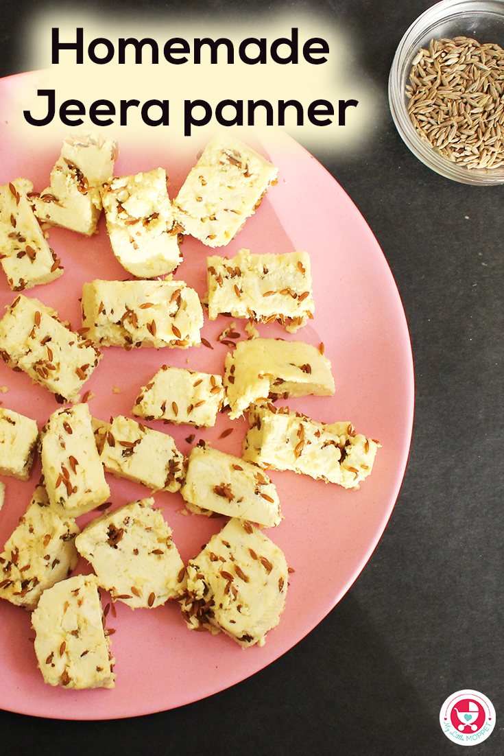 Here is an easy way to make fresh paneer at home! Homemade Jeera Paneer for Babies, has the added benefits of jeera and ginger with the calcium rich paneer.