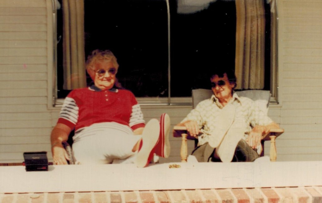 Wanda and Leona on porch (2)