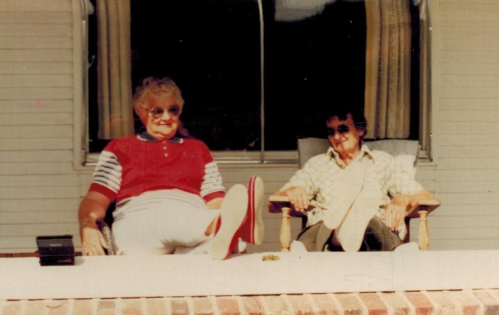 Wanda and Leona on porch (2)