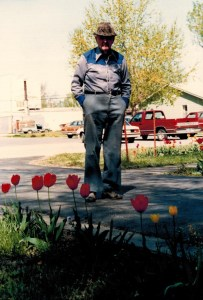 Grandpa and tulips at Rossville house