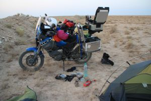 Bike, stove, tent, breakfast