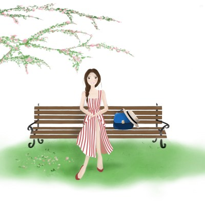 A Sprin tale. Park bench fashion illustration. My Lovely Diaries