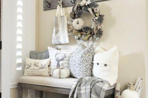 Entrée dans le style Farmhouse maison de campagne avec coussins plaid tapis cocooning