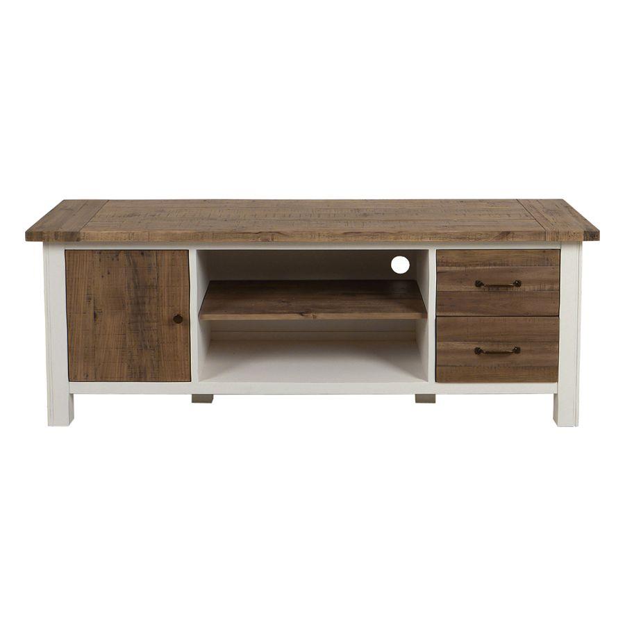 meuble tv banc en bois brut et blanc avec tiroirs collection rivages du magasin interiors