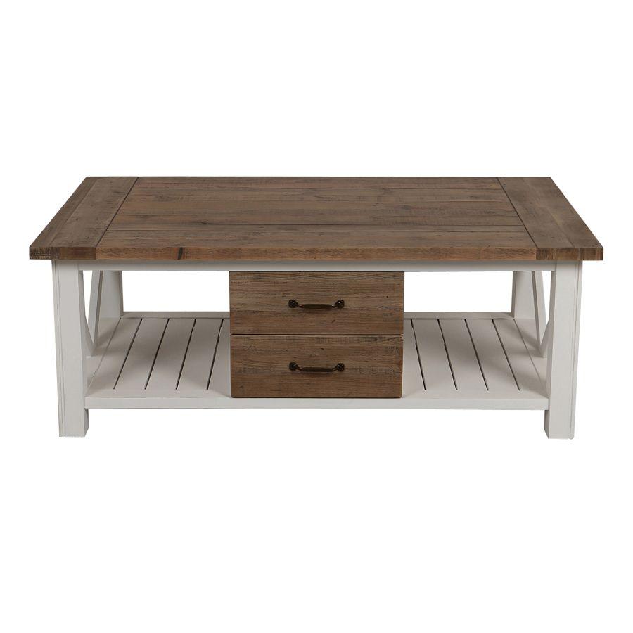 Table basse en bois brut et pieds blancs de la collection Rivages du magasin interiors