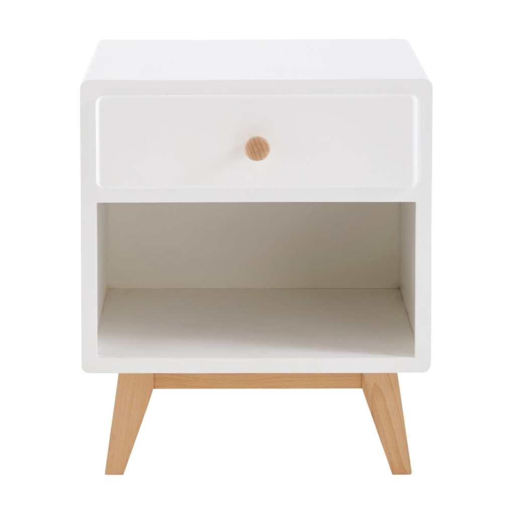 table de chevet vintage blanc et bois maison du monde
