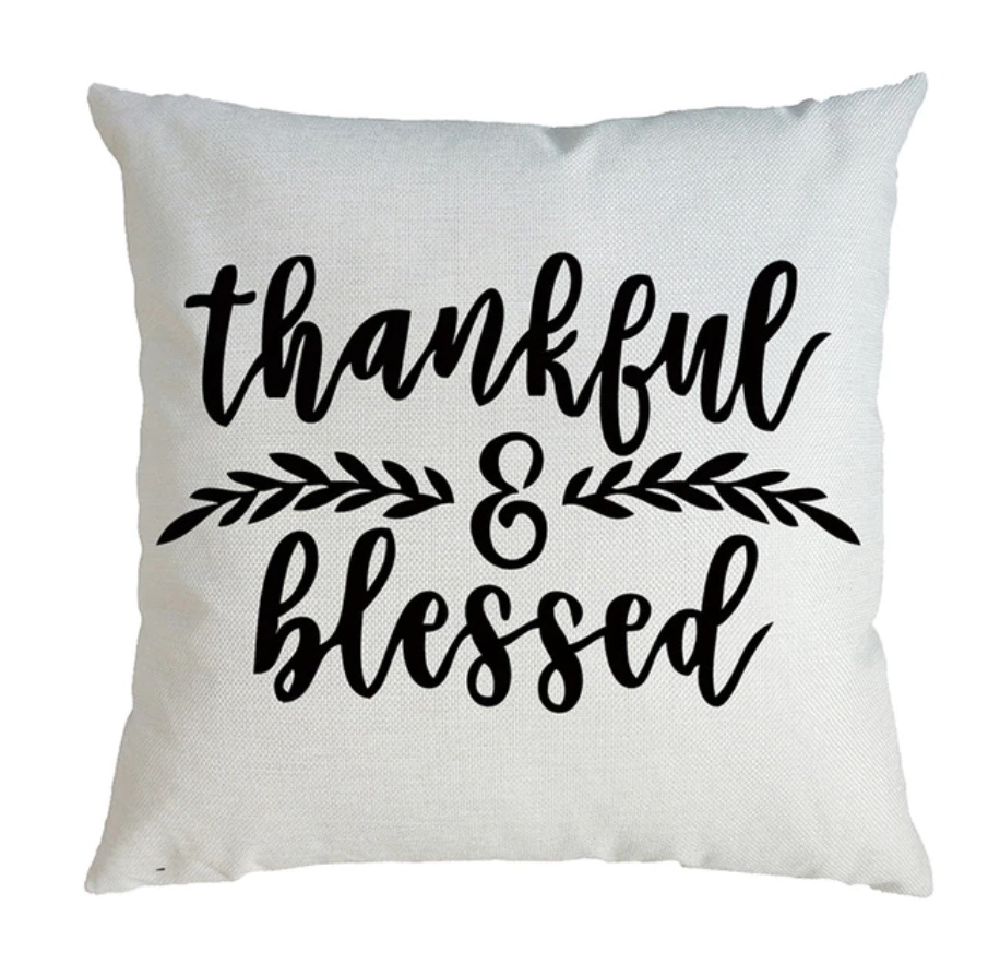 housse de coussin thankful and blessed