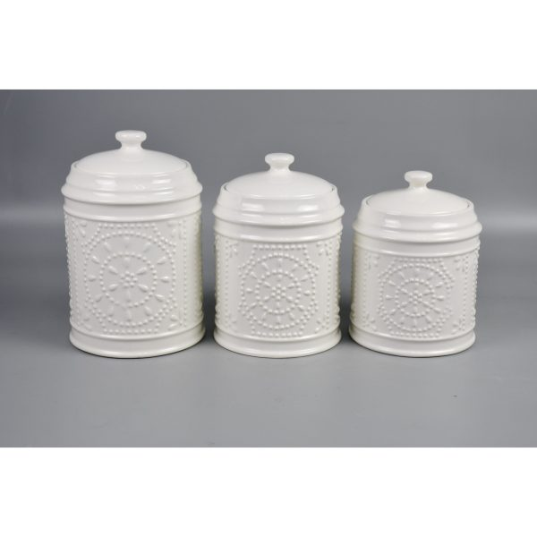 lot de 3 bocaux de conservation en céramique blanc