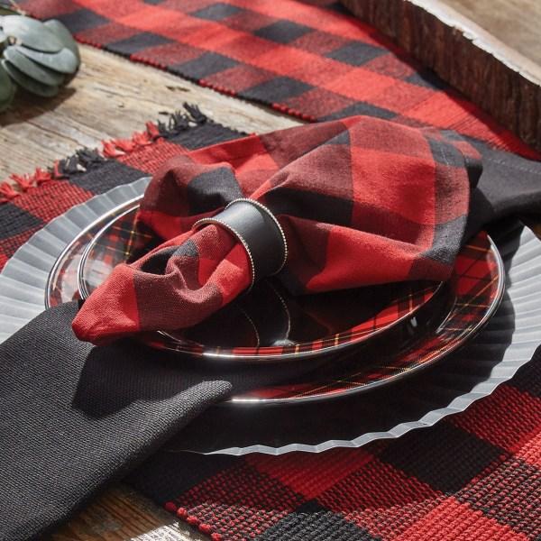 Serviettes rouge et noir à carreaux buffalo check