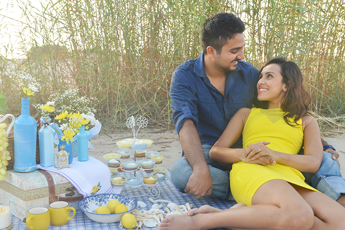 A yellow & blue 'Save the Date' shoot…