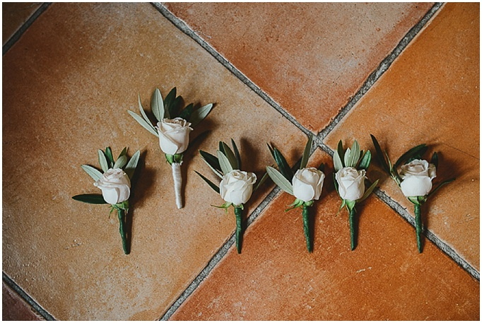 Rustic wedding in Tuscany - Featured on My Lovely Wedding Blog.  - Gotgeous white rose button holes for an Italian wedding.