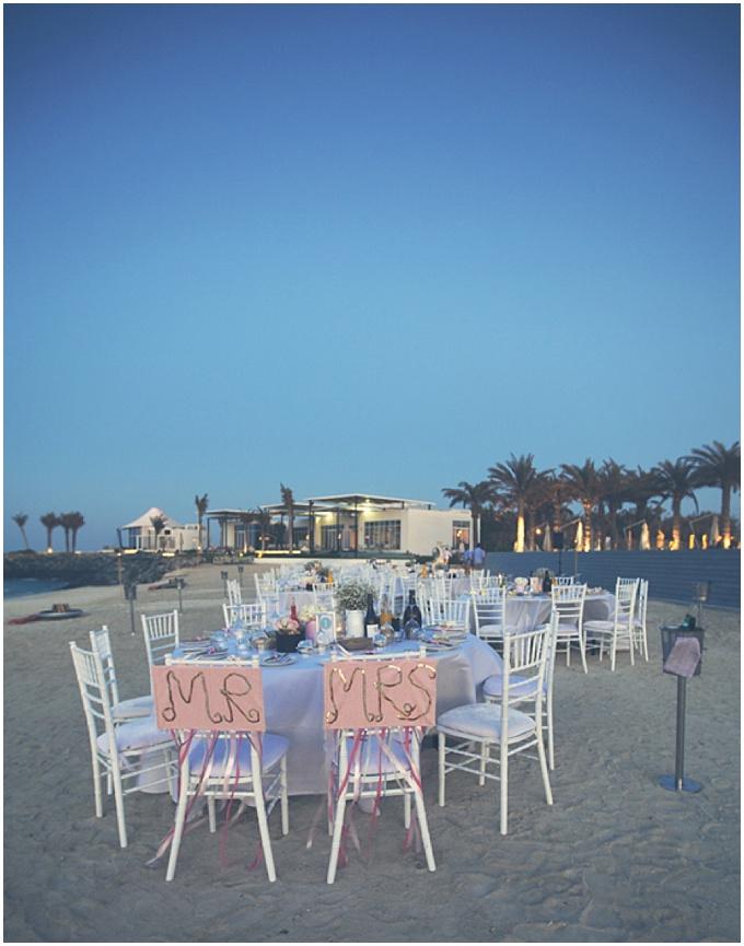 Beach wedding at Zaya Nurai Island, Abu Dhabi. Photographed by Goldfish Photography & Video.