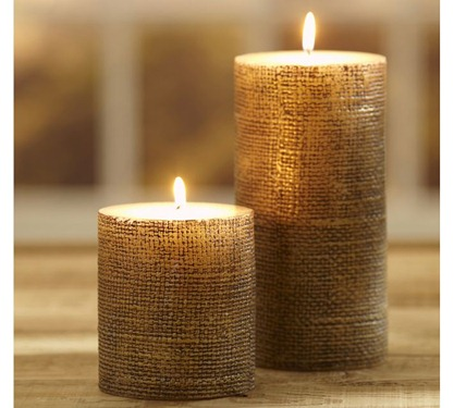 'Pottery Barn Gold Burlap Candle""