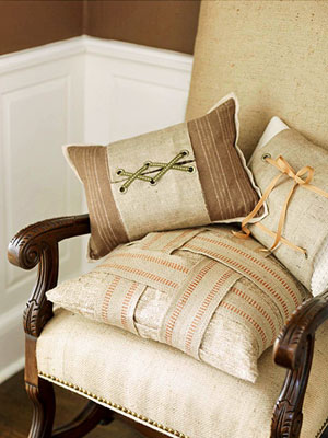 burlap pillows bhg Decorate Your Home For Fall