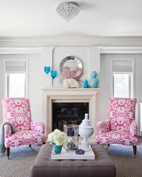 """Pink Flambe Pattern Accent Chairs"""