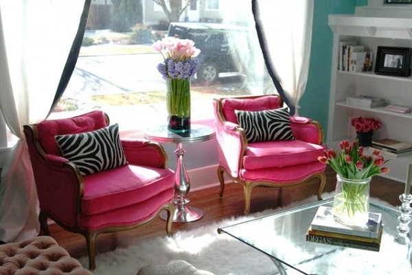 """Pink Flambe Accent Chairs"""