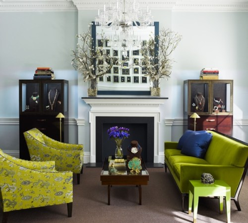 """ Bright chartreuse living room"""