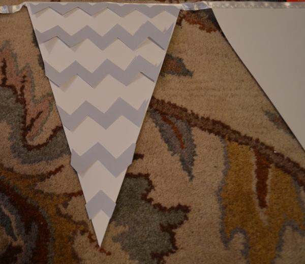 """Glue Chevron Pattern to Pennant"""