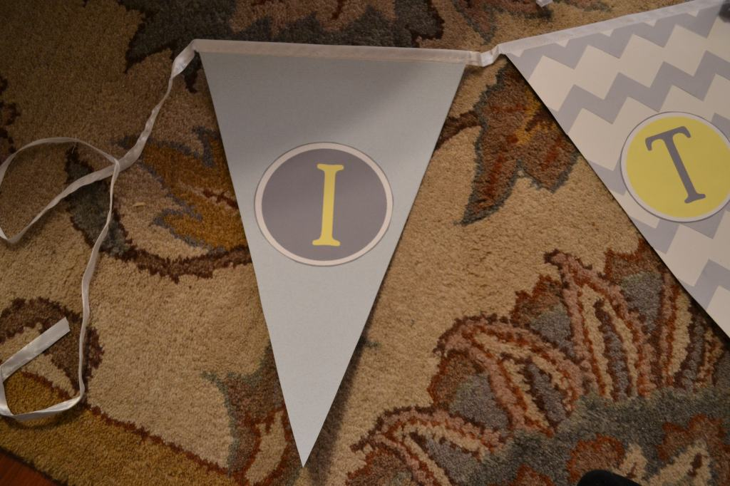 """Glue Letters on Pennant"""