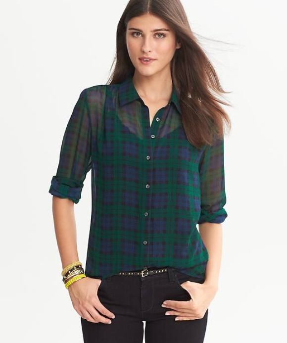 BR sheer plaid blouse