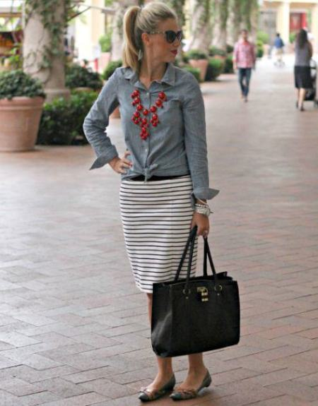 Chambray Shirt with Striped Skirts