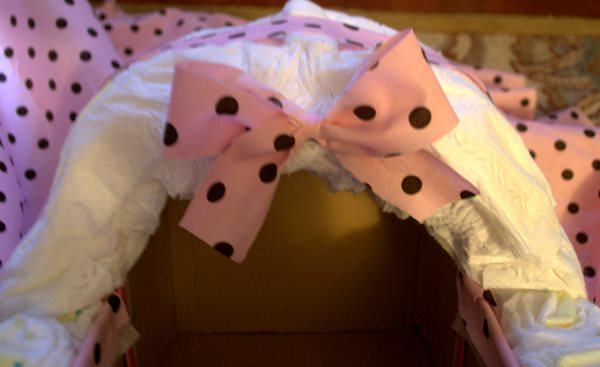 Glue Bow on Front of Canopy