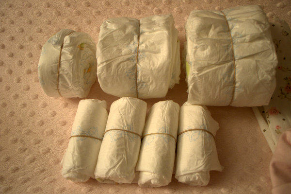 Rolled Diapers to make Sleeping Baby Diaper Cake