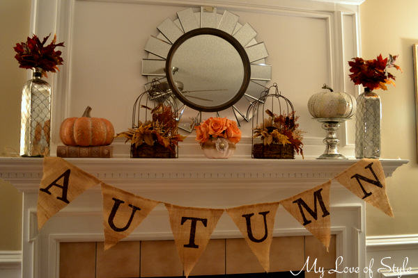 Fall mantel with floral pumkin centerpiece