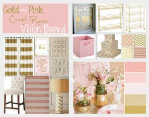 Gold & Pink Craft Room Vision Board